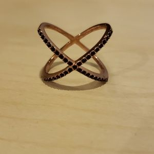 Baublebar rose gold toned black crystal ring